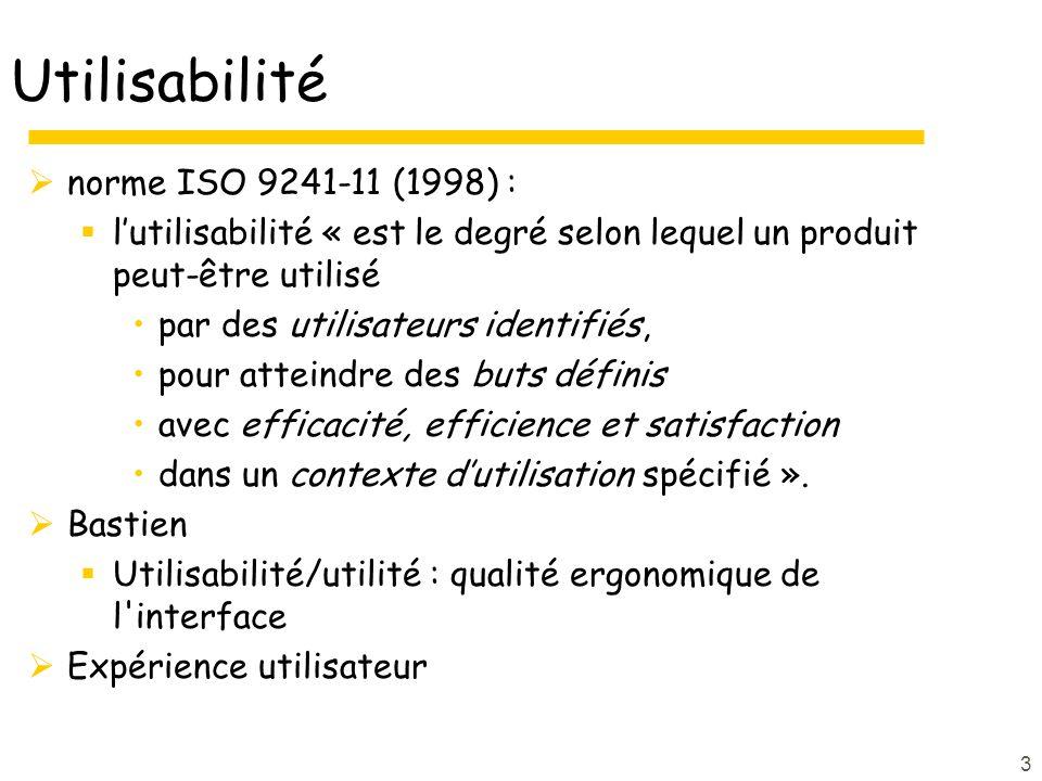 3 Utilisabilité norme ISO 9241-11 (1998) : lutilisabilité « est le degré selon lequel un produit peut-être utilisé par des utilisateurs identifiés, po