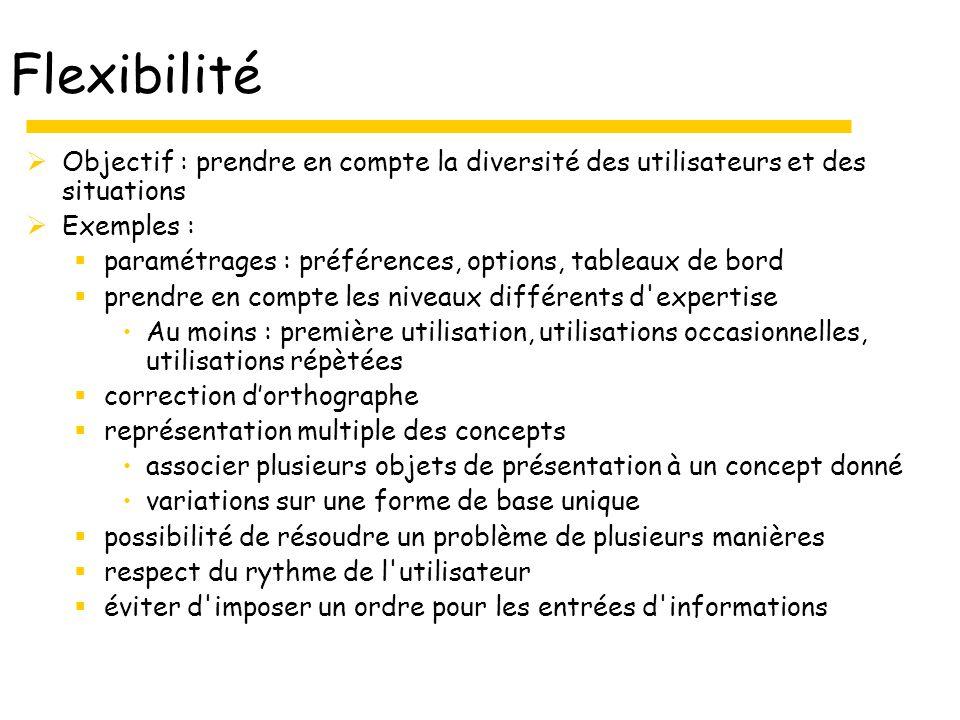 Flexibilité Objectif : prendre en compte la diversité des utilisateurs et des situations Exemples : paramétrages : préférences, options, tableaux de b