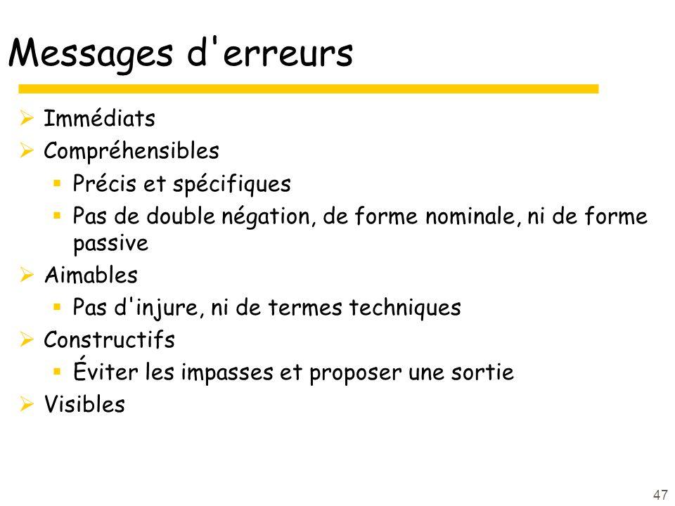 47 Messages d'erreurs Immédiats Compréhensibles Précis et spécifiques Pas de double négation, de forme nominale, ni de forme passive Aimables Pas d'in