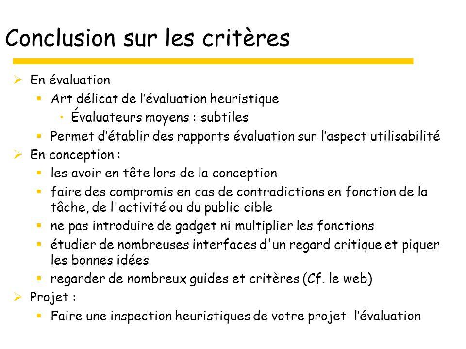 Conclusion sur les critères En évaluation Art délicat de lévaluation heuristique Évaluateurs moyens : subtiles Permet détablir des rapports évaluation