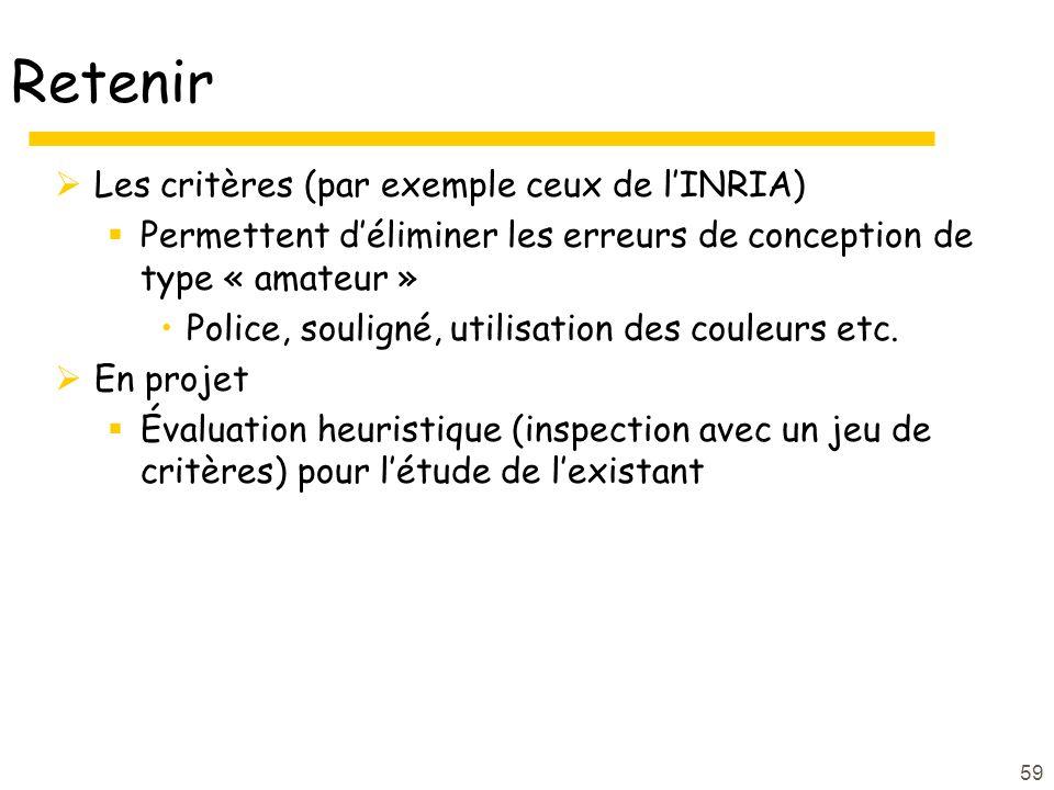 59 Retenir Les critères (par exemple ceux de lINRIA) Permettent déliminer les erreurs de conception de type « amateur » Police, souligné, utilisation