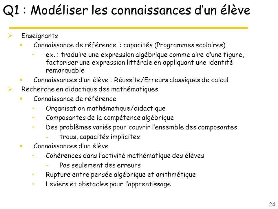Q1 : Modéliser les connaissances dun élève Enseignants Connaissance de référence : capacités (Programmes scolaires) ex. : traduire une expression algé