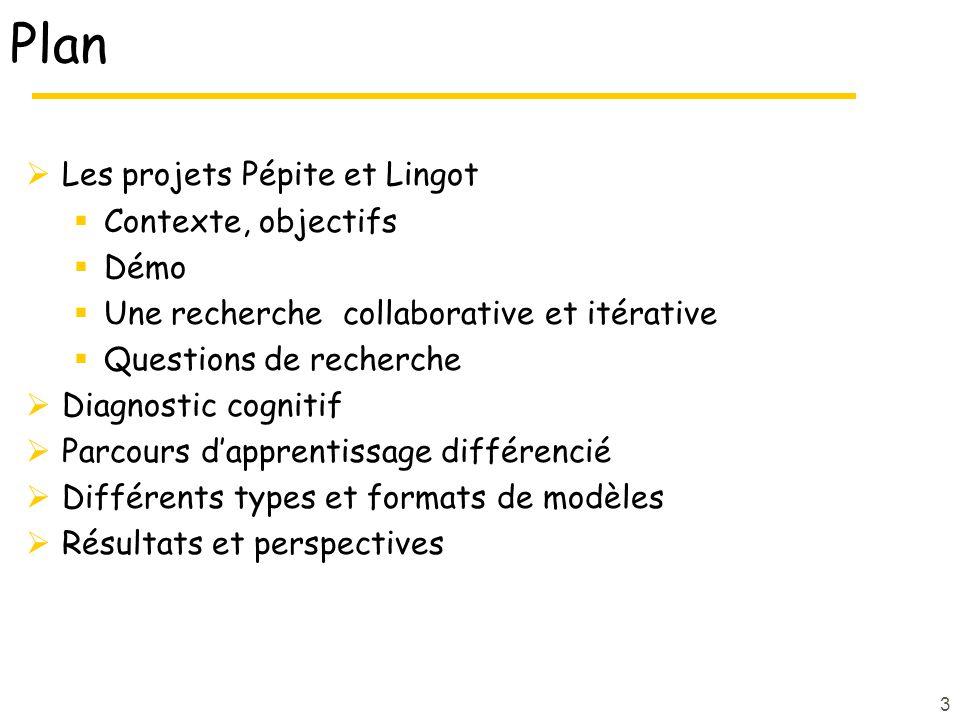 Plan Les projets Pépite et Lingot Contexte, objectifs Démo Une recherche collaborative et itérative Questions de recherche Diagnostic cognitif Parcour