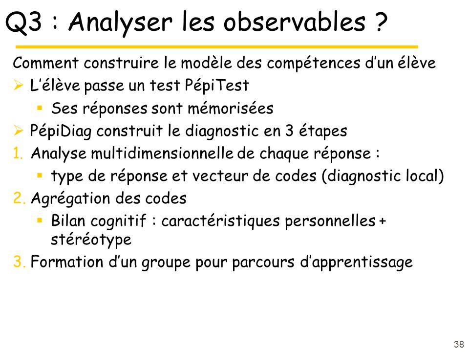 Q3 : Analyser les observables ? Comment construire le modèle des compétences dun élève Lélève passe un test PépiTest Ses réponses sont mémorisées Pépi