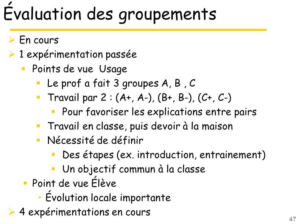 Évaluation des groupements En cours 1 expérimentation passée Points de vue Usage Le prof a fait 3 groupes A, B, C Travail par 2 : (A+, A-), (B+, B-),