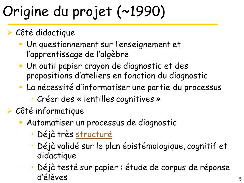 Origine du projet (~1990) Côté didactique Un questionnement sur lenseignement et lapprentissage de lalgèbre Un outil papier crayon de diagnostic et de