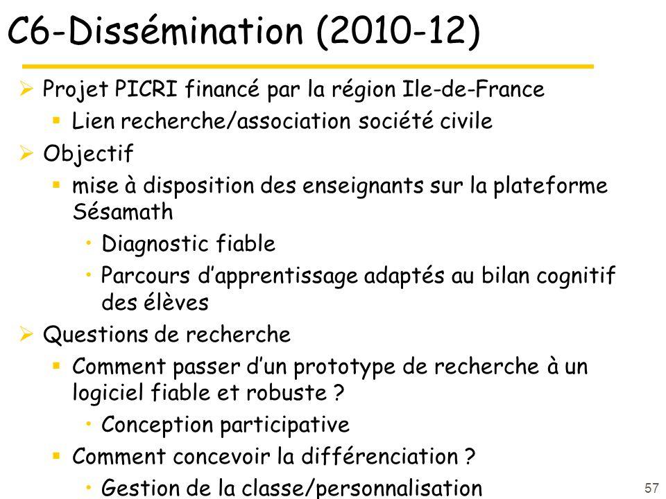 C6-Dissémination (2010-12) Projet PICRI financé par la région Ile-de-France Lien recherche/association société civile Objectif mise à disposition des