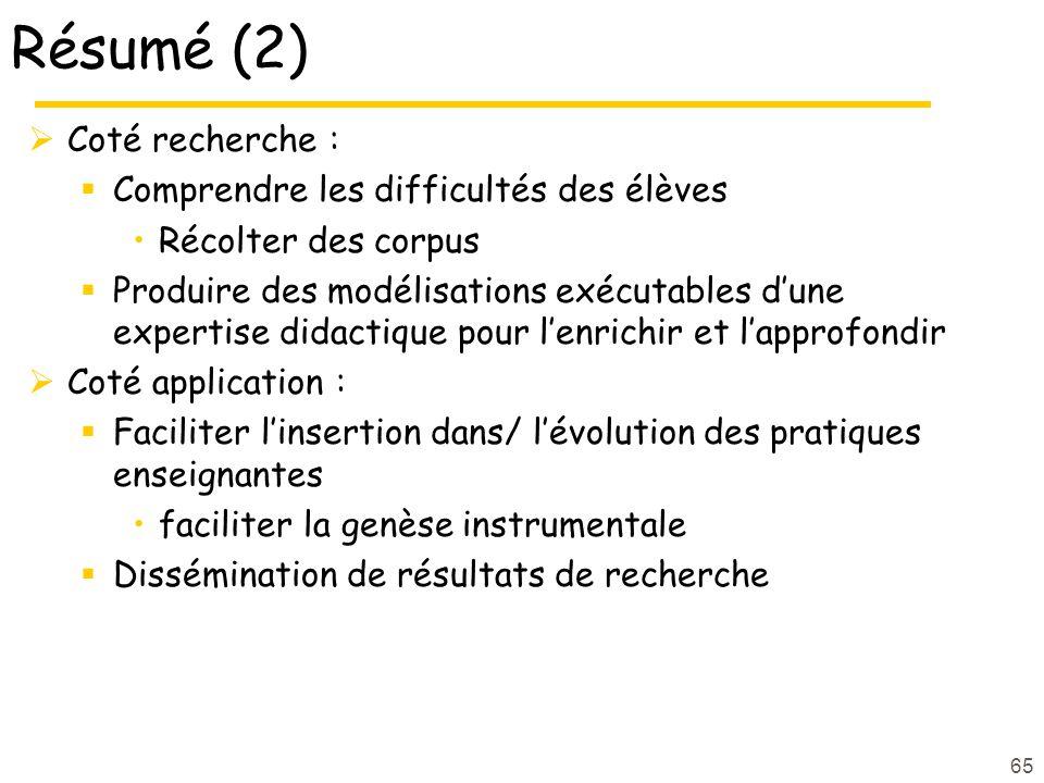 65 Résumé (2) Coté recherche : Comprendre les difficultés des élèves Récolter des corpus Produire des modélisations exécutables dune expertise didacti