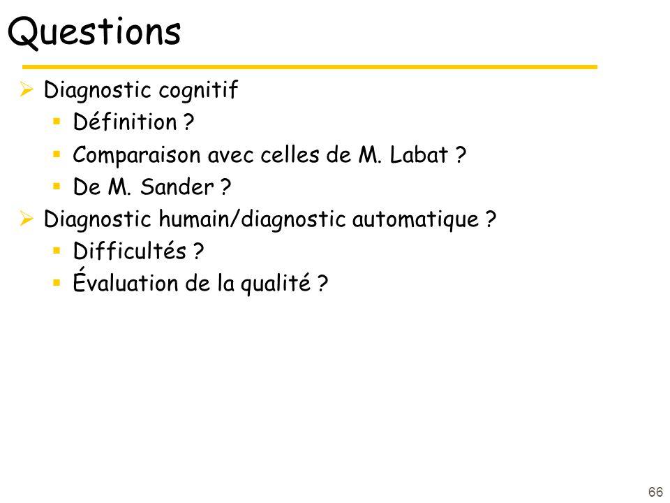 Questions Diagnostic cognitif Définition ? Comparaison avec celles de M. Labat ? De M. Sander ? Diagnostic humain/diagnostic automatique ? Difficultés
