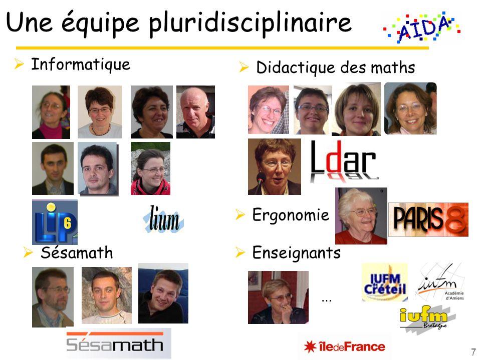 Didactique des maths Une équipe pluridisciplinaire Informatique Sésamath 7 Enseignants … Ergonomie