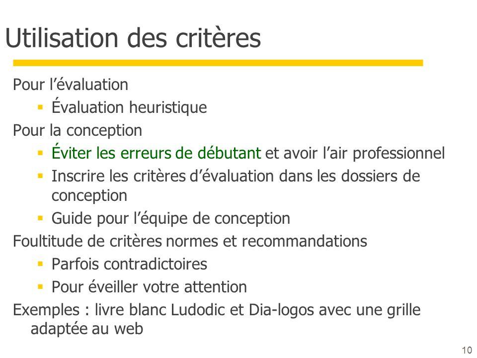 10 Utilisation des critères Pour lévaluation Évaluation heuristique Pour la conception Éviter les erreurs de débutant et avoir lair professionnel Insc