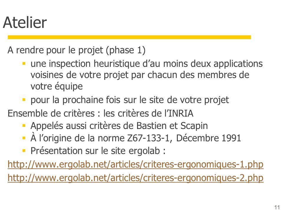 Atelier A rendre pour le projet (phase 1) une inspection heuristique dau moins deux applications voisines de votre projet par chacun des membres de votre équipe pour la prochaine fois sur le site de votre projet Ensemble de critères : les critères de lINRIA Appelés aussi critères de Bastien et Scapin À lorigine de la norme Z67-133-1, Décembre 1991 Présentation sur le site ergolab : http://www.ergolab.net/articles/criteres-ergonomiques-1.php http://www.ergolab.net/articles/criteres-ergonomiques-2.php 11