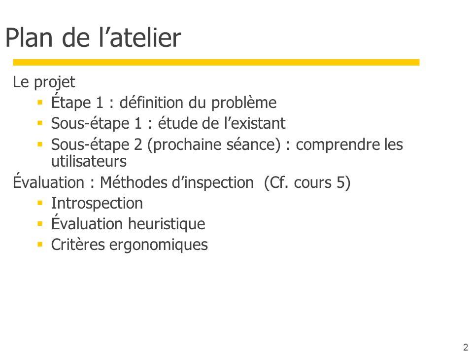2 Plan de latelier Le projet Étape 1 : définition du problème Sous-étape 1 : étude de lexistant Sous-étape 2 (prochaine séance) : comprendre les utilisateurs Évaluation : Méthodes dinspection (Cf.