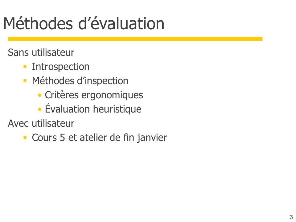 Méthodes dévaluation Sans utilisateur Introspection Méthodes dinspection Critères ergonomiques Évaluation heuristique Avec utilisateur Cours 5 et atel
