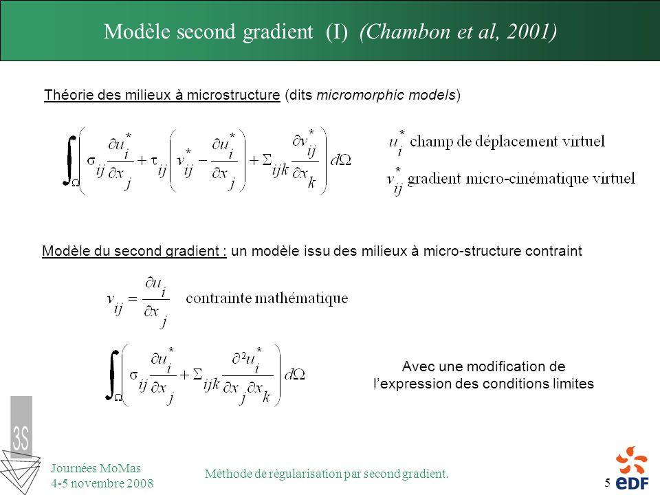 5 Journées MoMas 4-5 novembre 2008 Méthode de régularisation par second gradient. Théorie des milieux à microstructure (dits micromorphic models) Modè