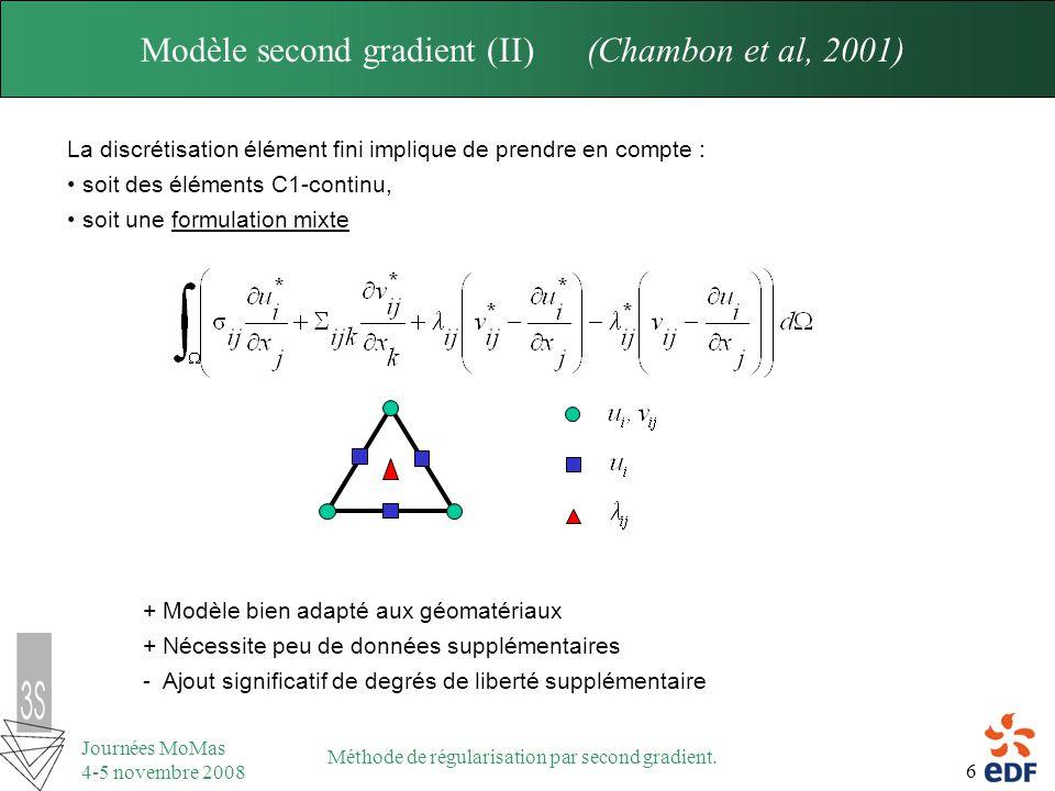 6 Journées MoMas 4-5 novembre 2008 Méthode de régularisation par second gradient. Modèle second gradient (II) (Chambon et al, 2001) La discrétisation