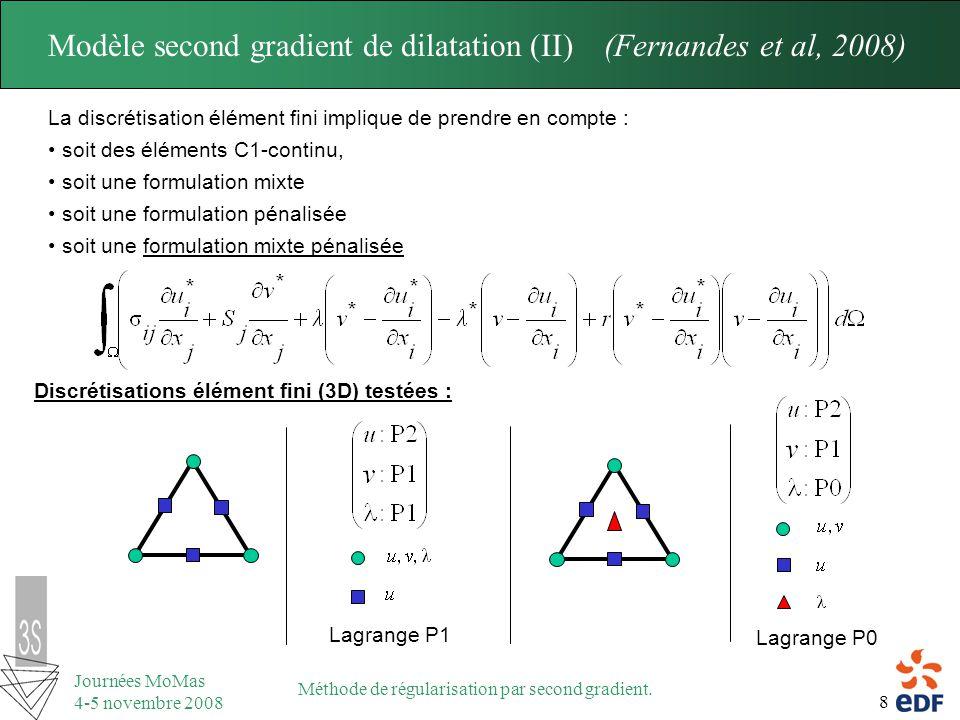 8 Journées MoMas 4-5 novembre 2008 Méthode de régularisation par second gradient. Modèle second gradient de dilatation (II) (Fernandes et al, 2008) La