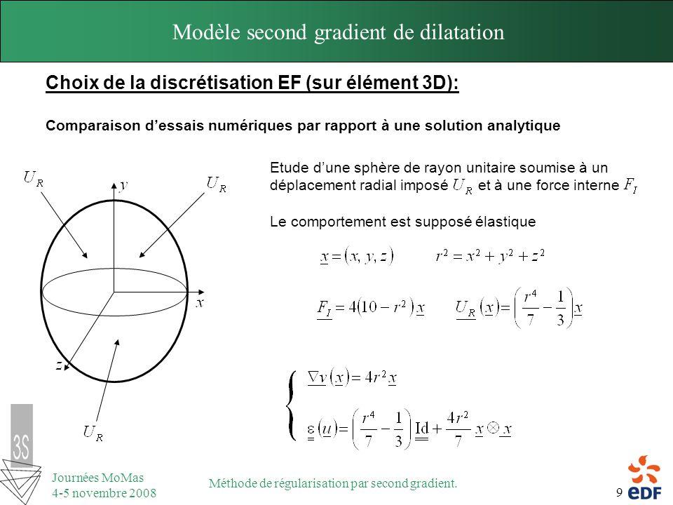 9 Journées MoMas 4-5 novembre 2008 Méthode de régularisation par second gradient. Modèle second gradient de dilatation Choix de la discrétisation EF (