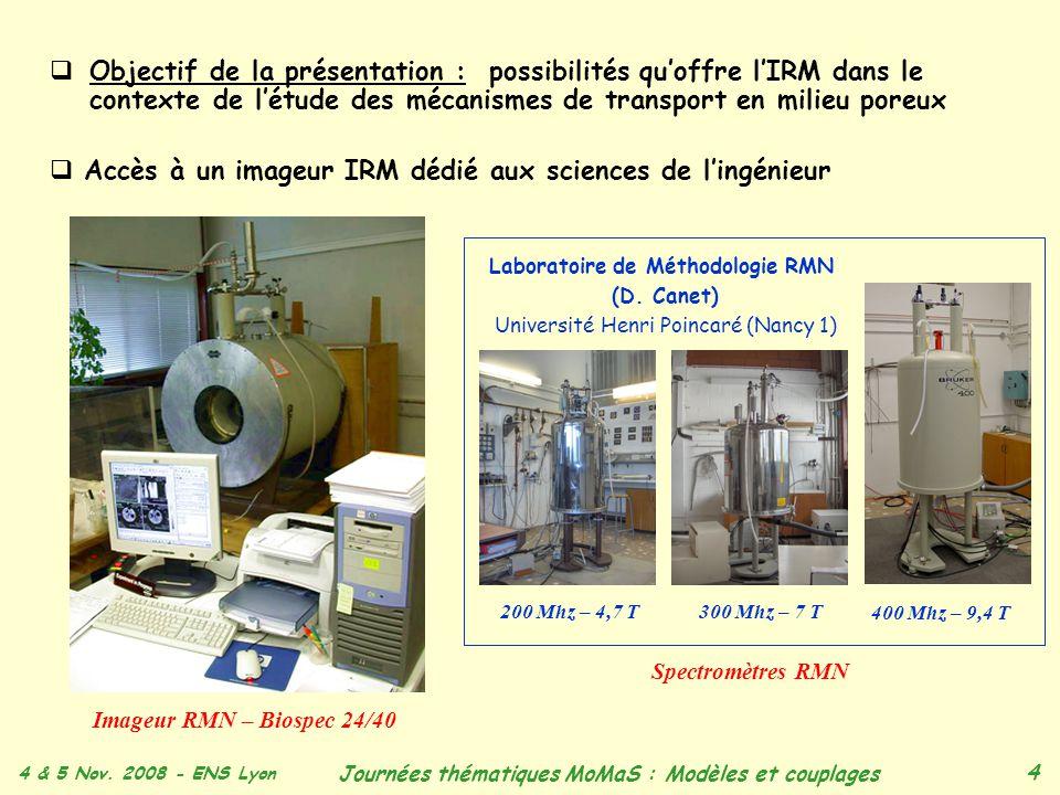 4 & 5 Nov. 2008 - ENS Lyon Journées thématiques MoMaS : Modèles et couplages 4 Objectif de la présentation : possibilités quoffre lIRM dans le context