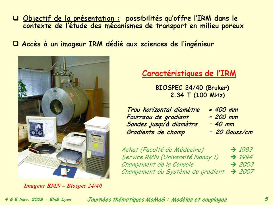 4 & 5 Nov. 2008 - ENS Lyon Journées thématiques MoMaS : Modèles et couplages 5 Objectif de la présentation : possibilités quoffre lIRM dans le context