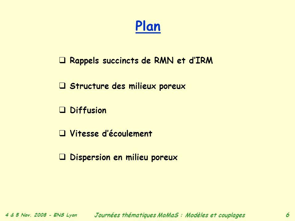 4 & 5 Nov. 2008 - ENS Lyon Journées thématiques MoMaS : Modèles et couplages 6 Plan Rappels succincts de RMN et dIRM Structure des milieux poreux Diff