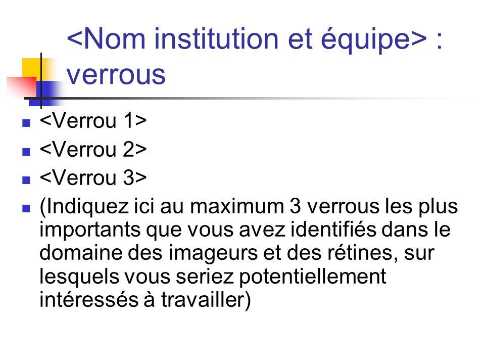 : verrous (Indiquez ici au maximum 3 verrous les plus importants que vous avez identifiés dans le domaine des imageurs et des rétines, sur lesquels vo