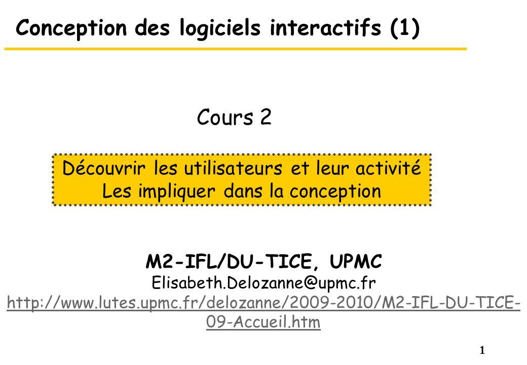 1 Conception des logiciels interactifs (1) M2-IFL/DU-TICE, UPMC Elisabeth.Delozanne@upmc.fr http://www.lutes.upmc.fr/delozanne/2009-2010/M2-IFL-DU-TIC