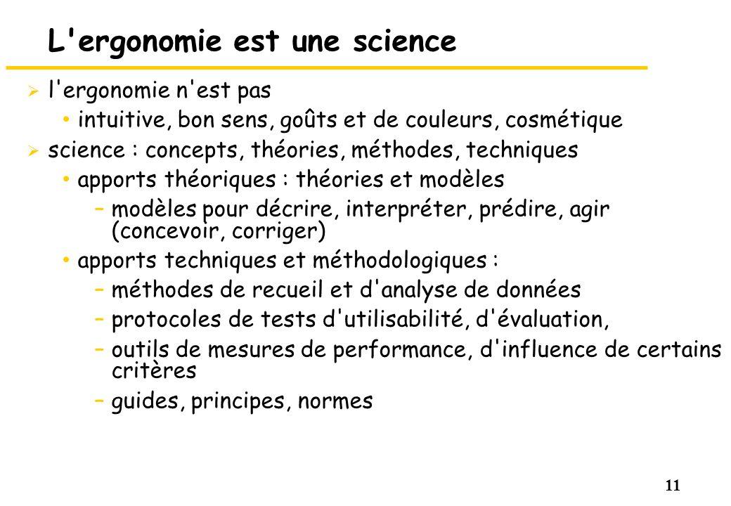 11 L'ergonomie est une science l'ergonomie n'est pas intuitive, bon sens, goûts et de couleurs, cosmétique science : concepts, théories, méthodes, tec