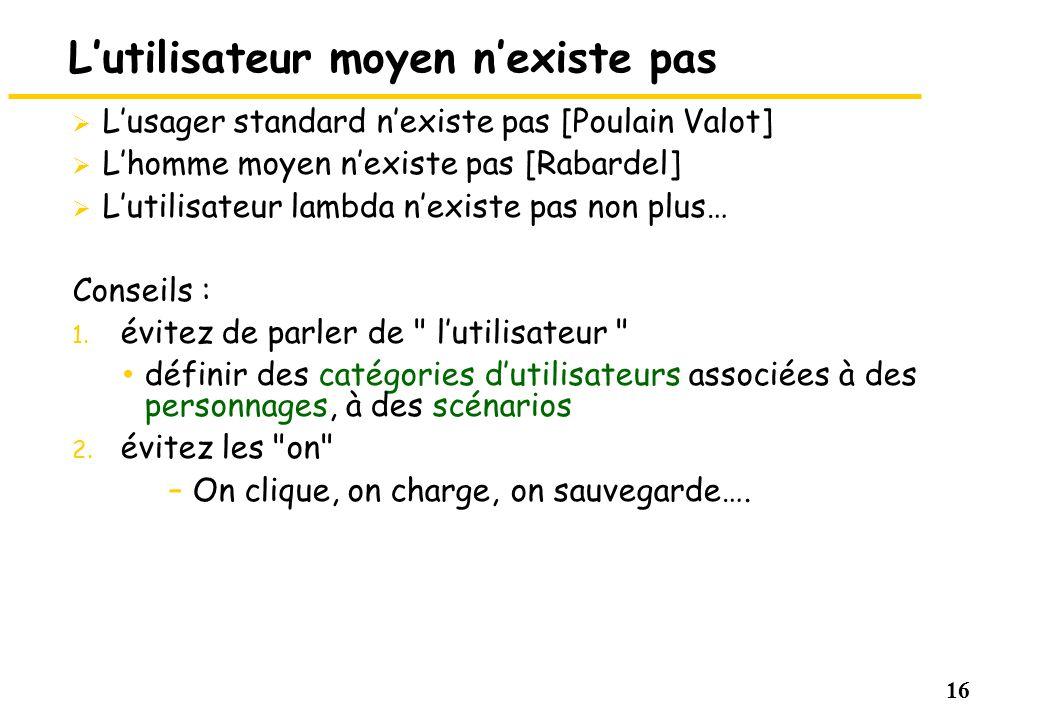 16 Lutilisateur moyen nexiste pas Lusager standard nexiste pas [Poulain Valot] Lhomme moyen nexiste pas [Rabardel] Lutilisateur lambda nexiste pas non
