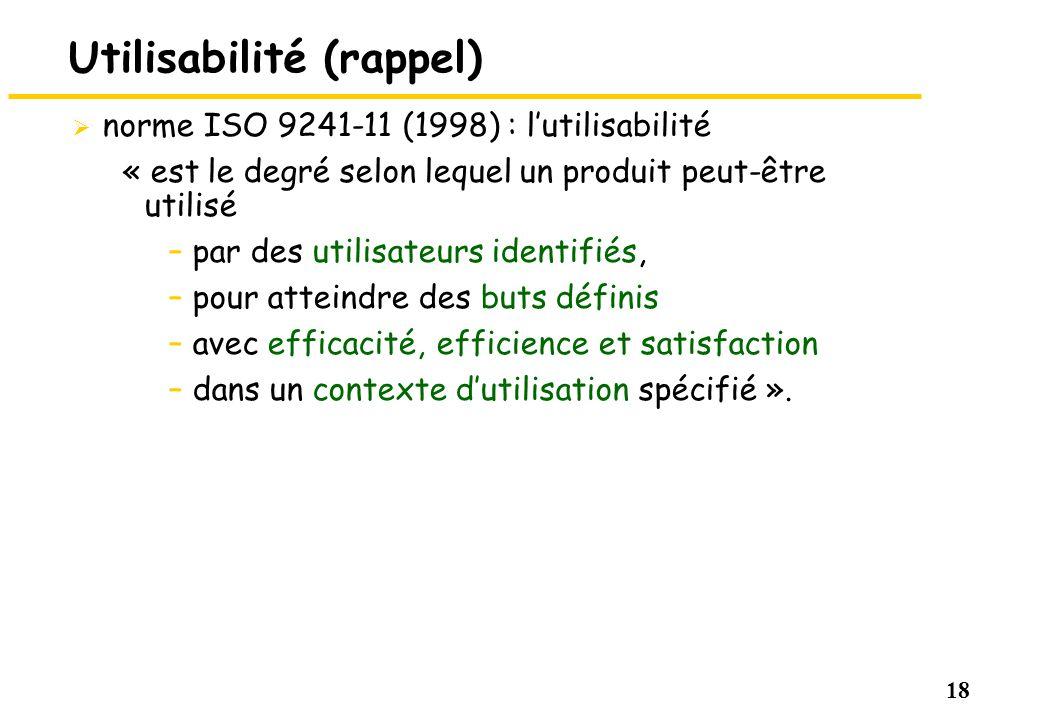 18 Utilisabilité (rappel) norme ISO 9241-11 (1998) : lutilisabilité « est le degré selon lequel un produit peut-être utilisé –par des utilisateurs ide