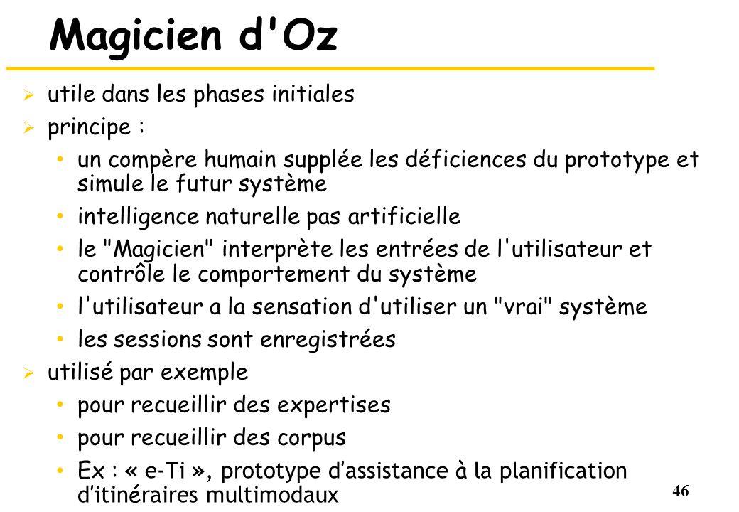 46 Magicien d'Oz utile dans les phases initiales principe : un compère humain supplée les déficiences du prototype et simule le futur système intellig