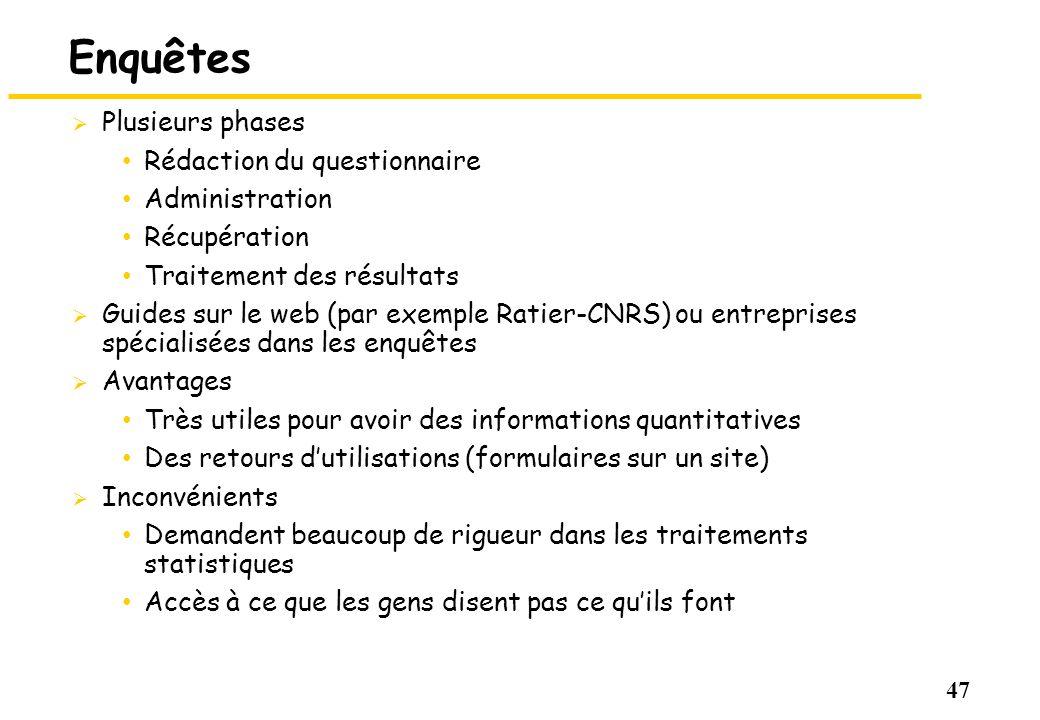 47 Enquêtes Plusieurs phases Rédaction du questionnaire Administration Récupération Traitement des résultats Guides sur le web (par exemple Ratier-CNR