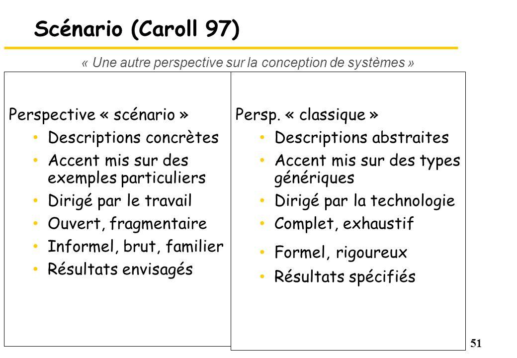 51 Scénario (Caroll 97) Perspective « scénario » Descriptions concrètes Accent mis sur des exemples particuliers Dirigé par le travail Ouvert, fragmen