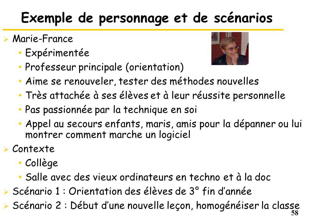 58 Exemple de personnage et de scénarios Marie-France Expérimentée Professeur principale (orientation) Aime se renouveler, tester des méthodes nouvell