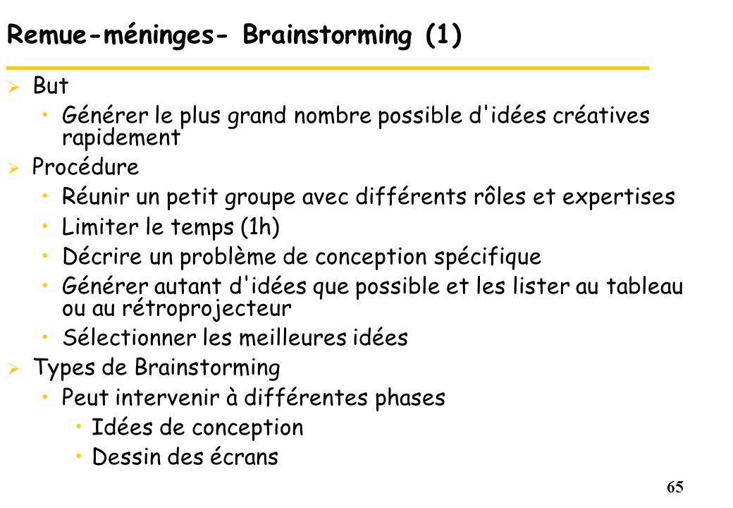 65 Remue-méninges- Brainstorming (1) But Générer le plus grand nombre possible d'idées créatives rapidement Procédure Réunir un petit groupe avec diff