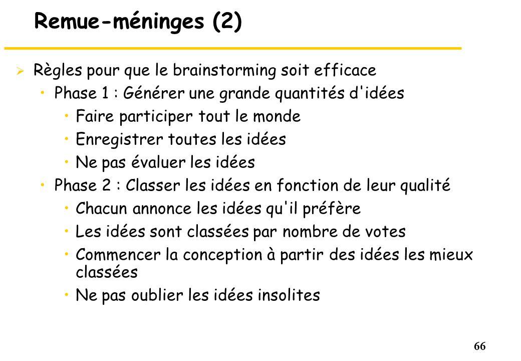 66 Remue-méninges (2) Règles pour que le brainstorming soit efficace Phase 1 : Générer une grande quantités d'idées Faire participer tout le monde Enr