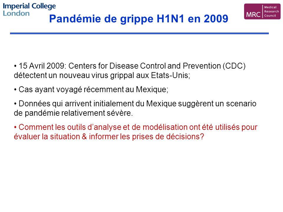 Pandémie de grippe H1N1 en 2009 15 Avril 2009: Centers for Disease Control and Prevention (CDC) détectent un nouveau virus grippal aux Etats-Unis; Cas ayant voyagé récemment au Mexique; Données qui arrivent initialement du Mexique suggèrent un scenario de pandémie relativement sévère.