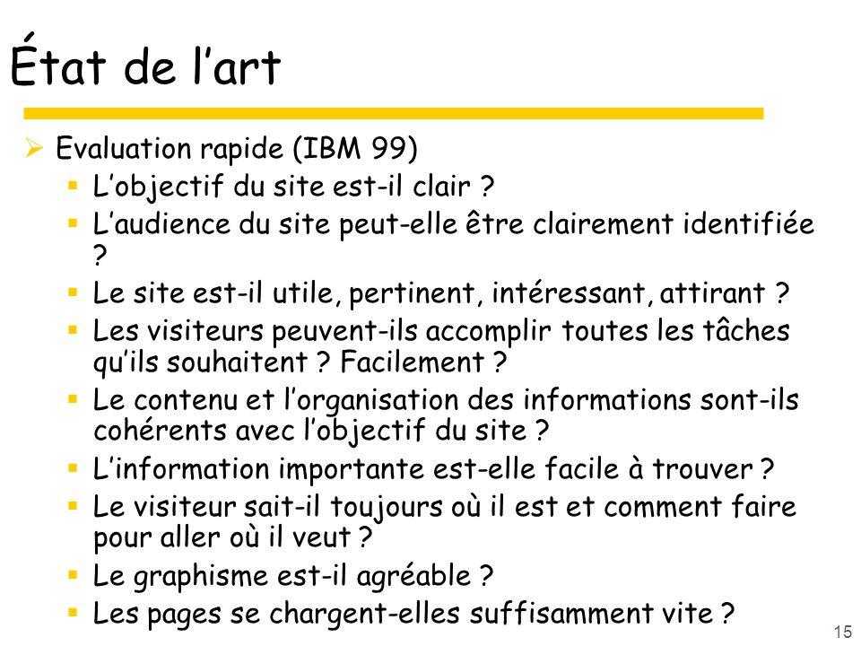 15 État de lart Evaluation rapide (IBM 99) Lobjectif du site est-il clair .