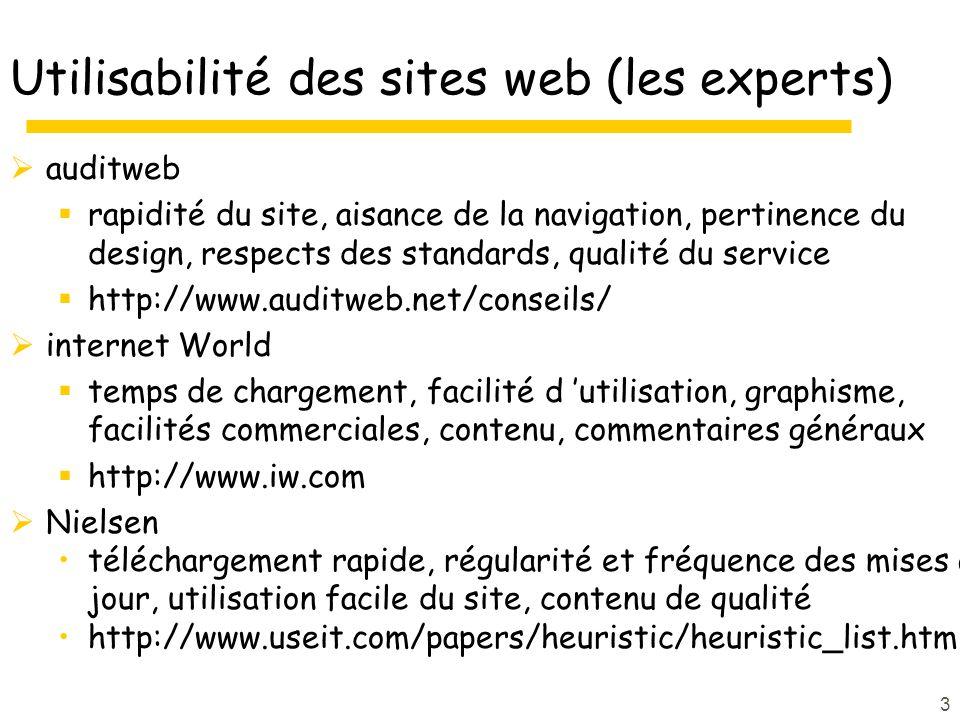 4 Utilisabilité des sites web (statistiques) 2/3 des acheteurs en ligne abandonnent avant la fin de la transaction en 1998, en 2000 (Landay, 2004, ch.