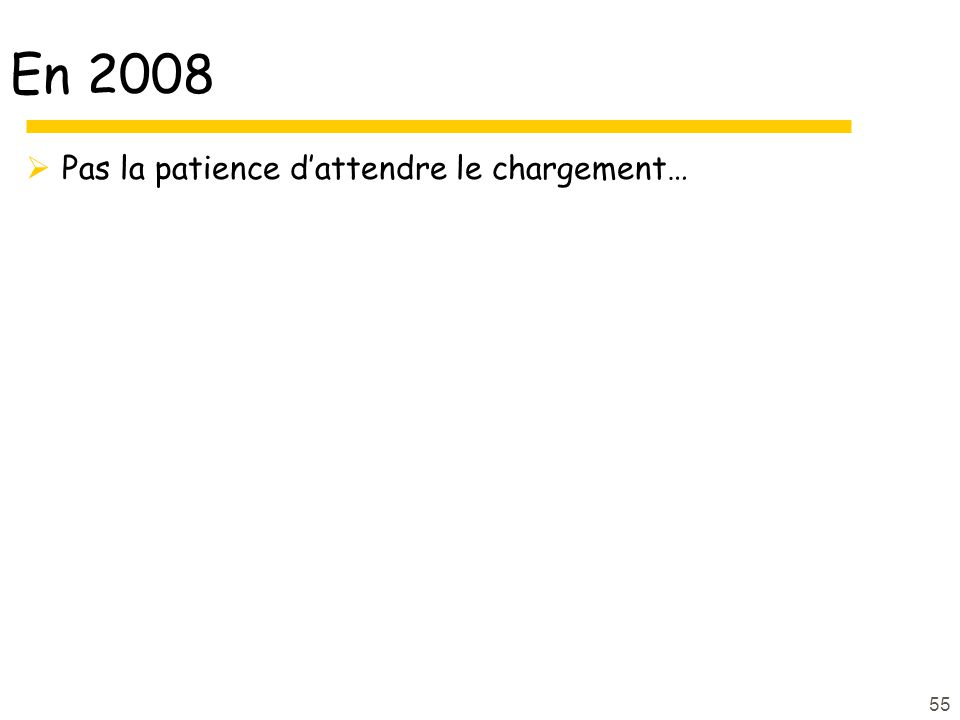 En 2008 Pas la patience dattendre le chargement… 55
