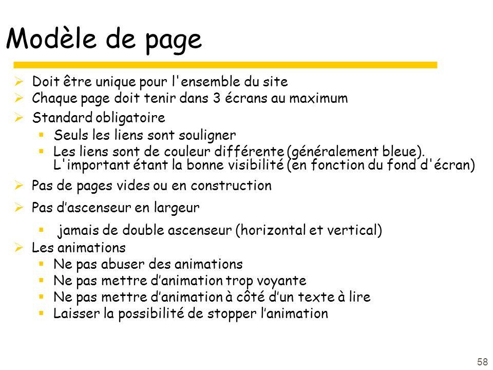 58 Modèle de page Doit être unique pour l ensemble du site Chaque page doit tenir dans 3 écrans au maximum Standard obligatoire Seuls les liens sont souligner Les liens sont de couleur différente (généralement bleue).
