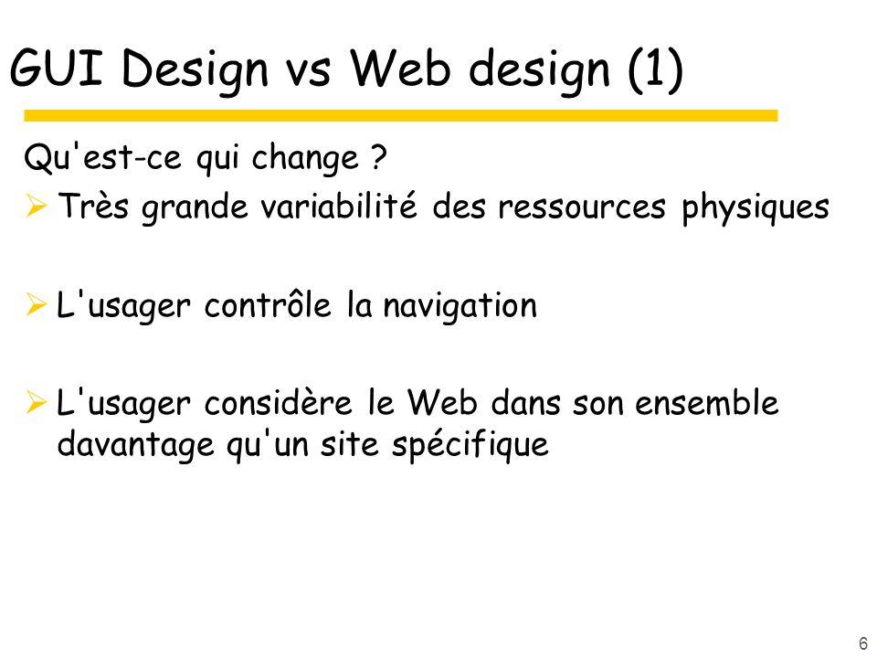 6 GUI Design vs Web design (1) Qu est-ce qui change .