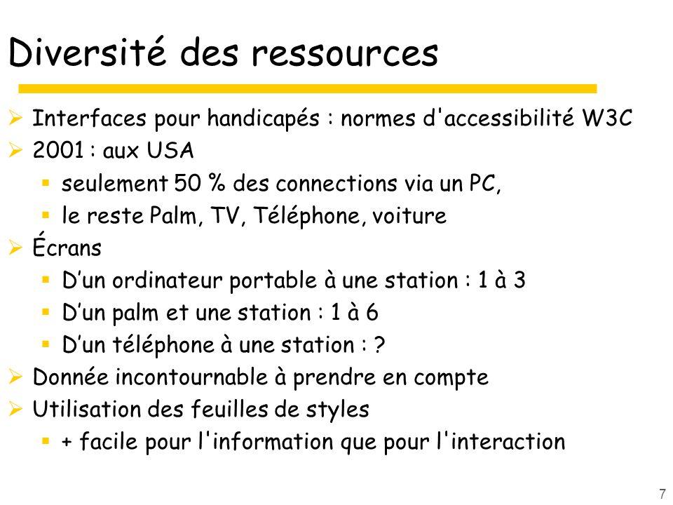 7 Diversité des ressources Interfaces pour handicapés : normes d accessibilité W3C 2001 : aux USA seulement 50 % des connections via un PC, le reste Palm, TV, Téléphone, voiture Écrans Dun ordinateur portable à une station : 1 à 3 Dun palm et une station : 1 à 6 Dun téléphone à une station : .