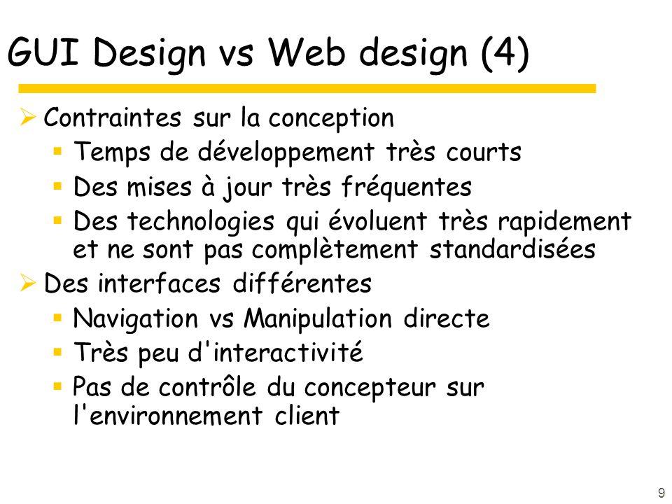 9 GUI Design vs Web design (4) Contraintes sur la conception Temps de développement très courts Des mises à jour très fréquentes Des technologies qui évoluent très rapidement et ne sont pas complètement standardisées Des interfaces différentes Navigation vs Manipulation directe Très peu d interactivité Pas de contrôle du concepteur sur l environnement client
