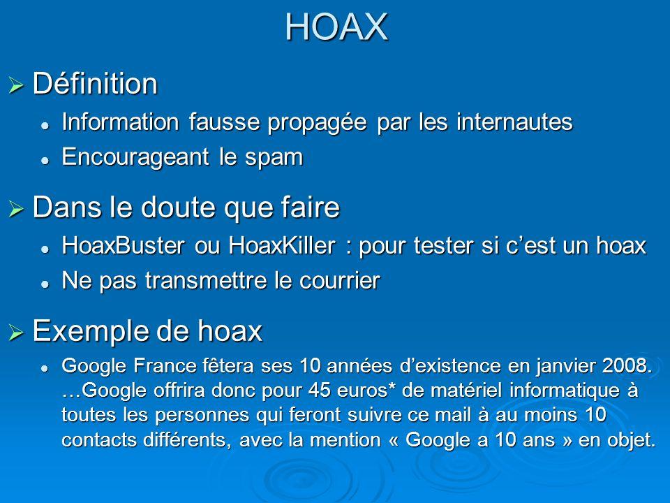 HOAX Définition Définition Information fausse propagée par les internautes Information fausse propagée par les internautes Encourageant le spam Encour