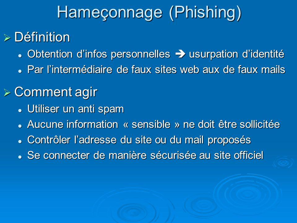 SSL : sécurisation des échanges Principe Principe Authentification (certificat signé par autorité de contrôle) Authentification (certificat signé par autorité de contrôle) Échange cryptés (en utilisant une clé publique) Échange cryptés (en utilisant une clé publique) Avantage Avantage Les échanges sont complètement sécurisés Les échanges sont complètement sécurisés En pratique En pratique Pages sécurisées : https (cadenas dans barre détat) Pages sécurisées : https (cadenas dans barre détat) Transfert de fichiers sécurisé : FTPs Transfert de fichiers sécurisé : FTPs Connexion sécurisée à un ordinateur distant : SSH Connexion sécurisée à un ordinateur distant : SSH