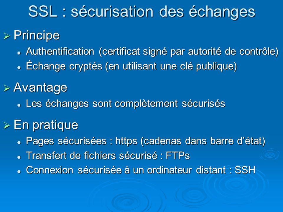 SSL : sécurisation des échanges Principe Principe Authentification (certificat signé par autorité de contrôle) Authentification (certificat signé par
