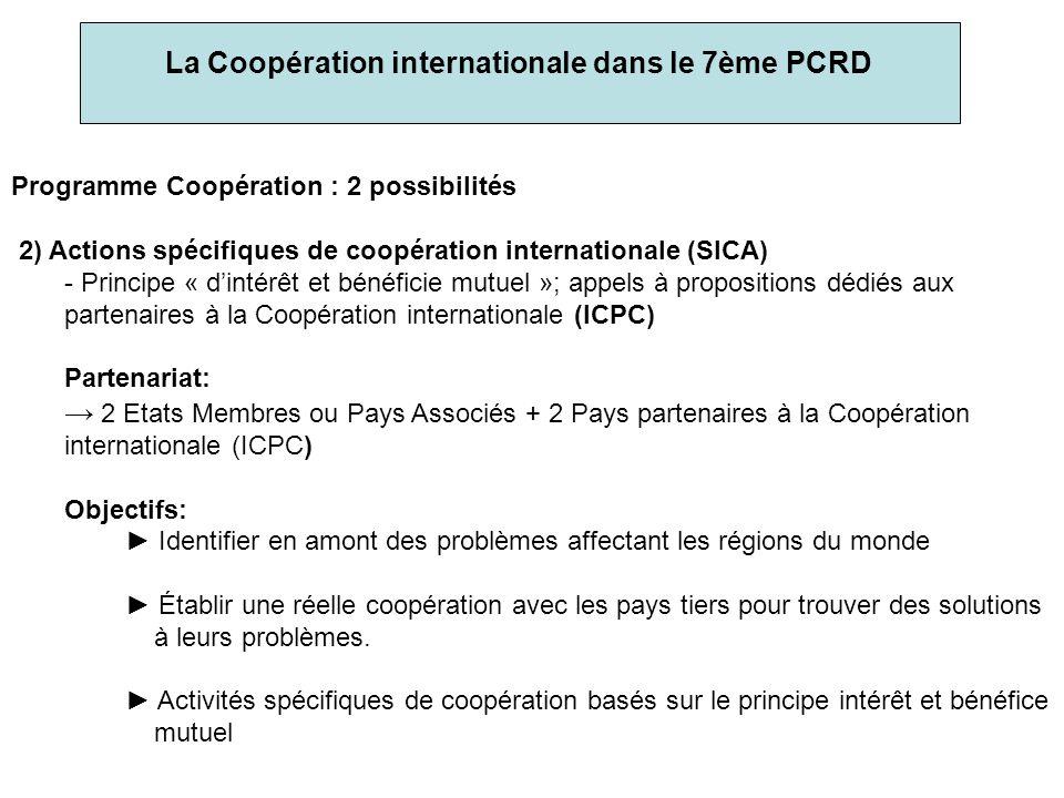 La Coopération internationale dans le 7ème PCRD Programme Coopération : 2 possibilités 2) Actions spécifiques de coopération internationale (SICA) - Principe « dintérêt et bénéficie mutuel »; appels à propositions dédiés aux partenaires à la Coopération internationale (ICPC) Partenariat: 2 Etats Membres ou Pays Associés + 2 Pays partenaires à la Coopération internationale (ICPC) Objectifs: Identifier en amont des problèmes affectant les régions du monde Établir une réelle coopération avec les pays tiers pour trouver des solutions à leurs problèmes.