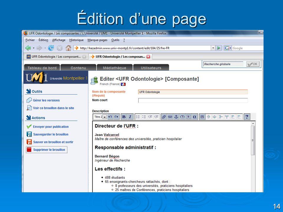 14 Édition dune page