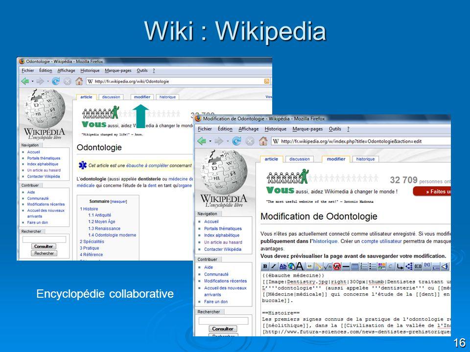 16 Wiki : Wikipedia Encyclopédie collaborative